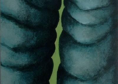 Gespleten in blauw